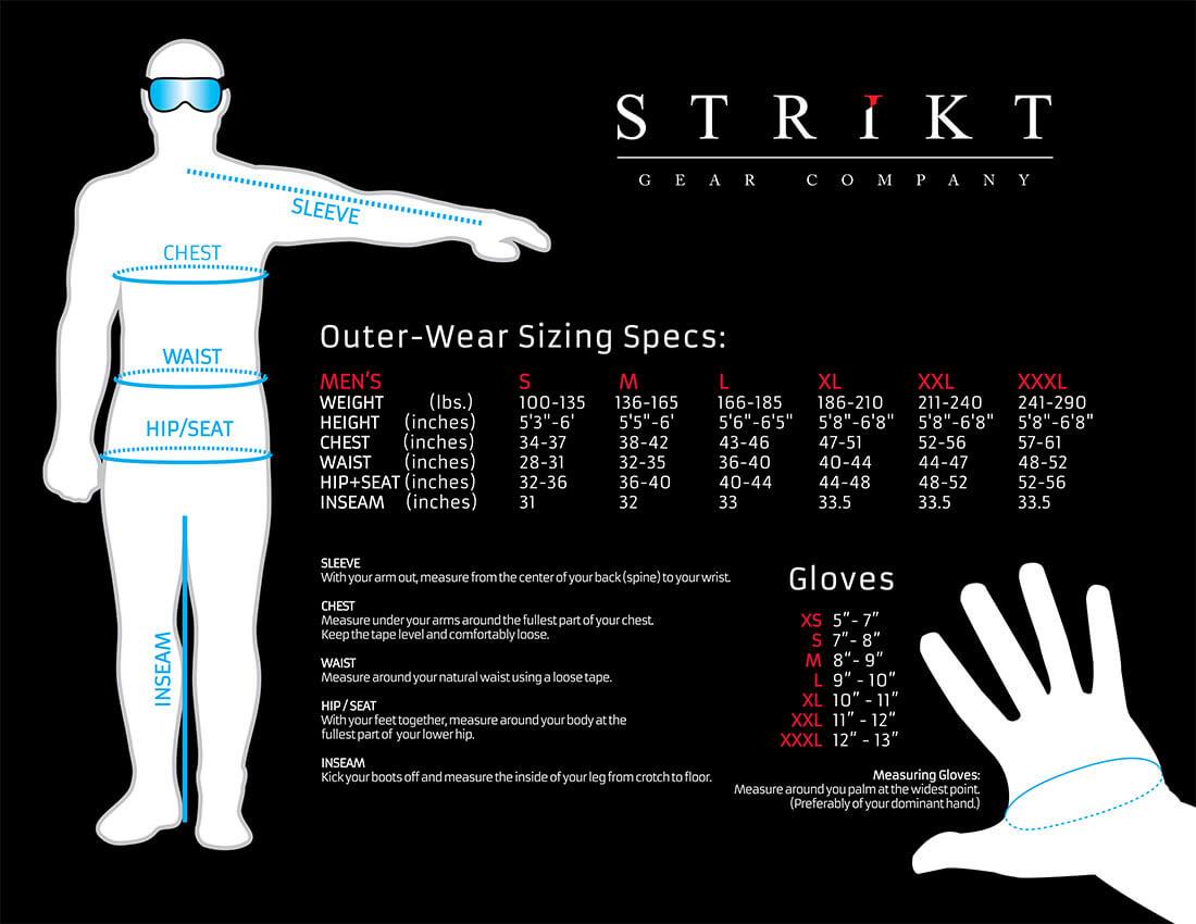 Strikt Gear Company Size Chart